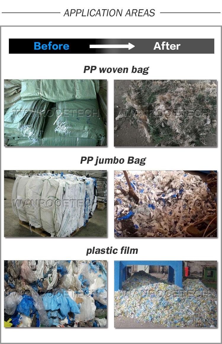 Woven Bag Shredding Machine, Shopping Bag Shredder, Garment Bag Shredder, Bulk Bag Shredder, Woven Bag Recycling Machine