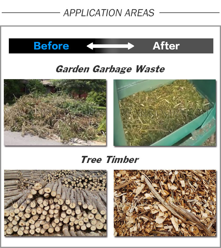 Garden Garbage Shredder,Tree Timber Shredder, Waste Wood Shredder